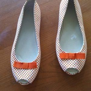 Zara Orange Polka Dot Peep Toe Flats NWT